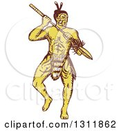 Clipart Of A Sketched Yellow Maori Warrior Holding A Taiaha And Doing A War Dance Royalty Free Vector Illustration