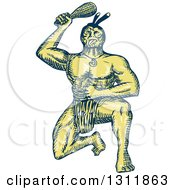 Clipart Of A Sketched Blue And Yellow Maori Warrior Kneeling And Holding A Patu Royalty Free Vector Illustration