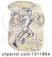 Clipart Of A Sketched Male Marathon Runner On A Park Path Royalty Free Vector Illustration
