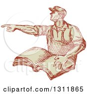 Clipart Of A Sketched Union Worker Man Pointing And Holding A Book Royalty Free Vector Illustration by patrimonio