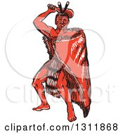 Clipart Of A Sketched Red Maori Chief War Dancing With A Taiaha Royalty Free Vector Illustration