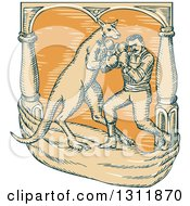 Clipart Of A Sketched Retro Male Boxer Fighting A Kangaroo Royalty Free Vector Illustration by patrimonio