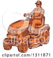 Clipart Of A Sketched Orange Man Driving A Ride On Mower Royalty Free Vector Illustration