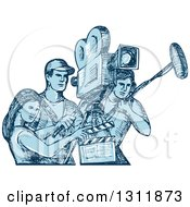 Clipart Of A Blue Sketch Of Film Crew Clapper Board Sound Man And Camera Man Workers Royalty Free Vector Illustration