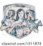 Clipart Of A Sketched Shield With Film Crew Workers Royalty Free Vector Illustration by patrimonio