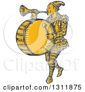 Clipart Of A Retro Sketched Clown Playing A Trumpet And Drum Royalty Free Vector Illustration