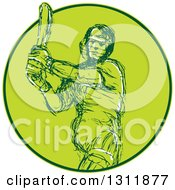 Clipart Of A Sketched Cricket Batsman Swinging A Bat In A Green Circle Royalty Free Vector Illustration