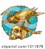 Poster, Art Print Of Sketched Raven With A Crow Bar On Top Of A Skull In A Barbed Wire Circle