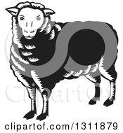 Retro Black And White Woodcut Sheep