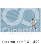 Clipart Of A Cartoon Dragon Man Plumber Holding A Monkey Wrench And Doing A Fist Pump And Blue Rays Background Or Business Card Design Royalty Free Illustration