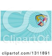 Clipart Of A Cartoon Dragon Man Plumber Holding A Monkey Wrench And Doing A Fist Pump And Light Blue Rays Background Or Business Card Design Royalty Free Illustration