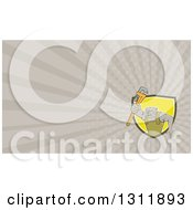 Clipart Of A Cartoon Bulldog Plumber Holding Out A Monkey Wrench And Taupe Rays Background Or Business Card Design Royalty Free Illustration