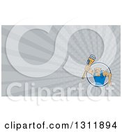 Clipart Of A Cartoon Bulldog Plumber Holding Out A Monkey Wrench And Gray Rays Background Or Business Card Design Royalty Free Illustration