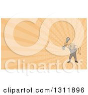 Clipart Of A Cartoon Bulldog Mechanic Holding Out A Wrench And Pastel Orange Rays Background Or Business Card Design Royalty Free Illustration