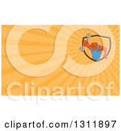 Clipart Of A Retro Cartoon Bulldog Mechanic Holding Out A Wrench And Orange Rays Background Or Business Card Design Royalty Free Illustration