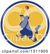 Clipart Of A Retro Jumping Male Handball Player Preparing To Throw The Ball In A Blue White And Yellow Circle Royalty Free Vector Illustration by patrimonio