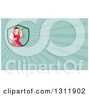Clipart Of A Retro Male House Painter In Overalls Holding A Roller Brush And Turquoise Rays Background Or Business Card Design Royalty Free Illustration