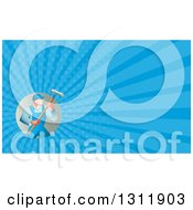Clipart Of A Retro Male House Painter In Overalls Holding A Roller Brush And Blue Rays Background Or Business Card Design Royalty Free Illustration