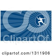 Retro Man Swordfight Fencing And Blue Rays Background Or Business Card Design