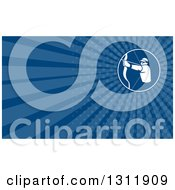 Clipart Of A Retro Male Archer Aiming And Blue Rays Background Or Business Card Design Royalty Free Illustration by patrimonio