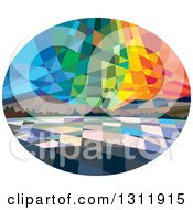Retro Low Polygon Styled View Of Northern Lights Or Aurora Borealis