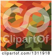 Clipart Of A Low Poly Abstract Geometric Background Of Greens And Orange Royalty Free Vector Illustration