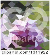 Clipart Of A Low Poly Abstract Geometric Background Of Green And Lavender Purple Royalty Free Vector Illustration