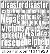 Clipart Of A Black And White Nepal Earthquake Word Tag Collage Royalty Free Vector Illustration