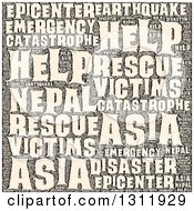 Clipart Of A Sepia Nepal Earthquake Word Tag Collage Royalty Free Vector Illustration