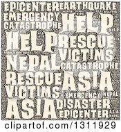 Sepia Nepal Earthquake Word Tag Collage