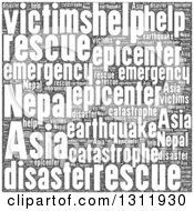 Clipart Of A Black And White Nepal Earthquake Word Tag Collage 2 Royalty Free Vector Illustration
