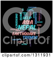 Clipart Of A Purple Pink And Blue Nepal Earthquake Word Tag Collage On Black Royalty Free Vector Illustration by oboy
