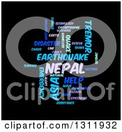 Clipart Of A Purple And Blue Nepal Earthquake Word Tag Collage On Black Royalty Free Vector Illustration by oboy