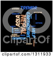Clipart Of A Tan And Blue Nepal Earthquake Word Tag Collage On Black Royalty Free Vector Illustration by oboy