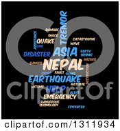 Clipart Of A Tan And Blue Nepal Earthquake Word Tag Collage On Black 2 Royalty Free Vector Illustration