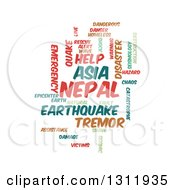 Nepal Earthquake Word Tag Collage On White