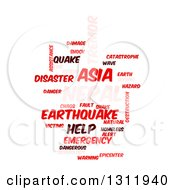 Clipart Of A Red And Pink Nepal Earthquake Word Tag Collage On White Royalty Free Vector Illustration by oboy