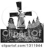 Clipart Of A Black And White Woodcut Dutch Windmill With Trees And A River Royalty Free Vector Illustration