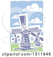 Clipart Of Woodcut Dutch Windmills Royalty Free Vector Illustration