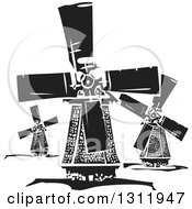 Clipart Of Black And White Woodcut Dutch Windmills Royalty Free Vector Illustration by xunantunich