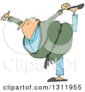 Clipart Of A Cartoon Chubby Senior White Man In A Green Robe Balancing On One Foot Royalty Free Vector Illustration by djart