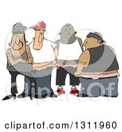 Group Of Tattooed White Black And Hispanic Gangsters With Saggy Pants