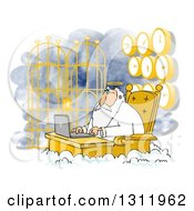 Clipart Of Jesus Working On A Laptop At Heavens Gates With Clocks Behind Him Royalty Free Illustration by djart