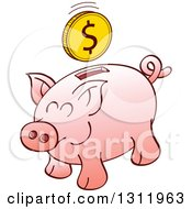 Clipart Of A Cartoon Pink Piggy Bank With A Dollar Coin Over The Slot Royalty Free Vector Illustration