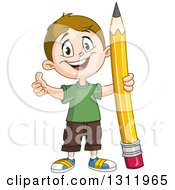 Happy White School Boy Holding A Thumb Up And Giant Pencil