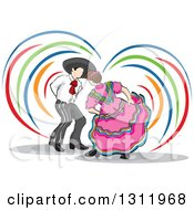Clipart Of A Sketch Of Spanish Folk Dancers With Colorful Swooshes Royalty Free Vector Illustration