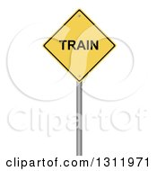 Clipart Of A 3d Yellow TRAIN Warning Sign On White Royalty Free Illustration