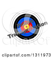Clipart Of A 3d Target With Diagonal PUBLIC TRANSPORTATION Text Over It On White Royalty Free Illustration
