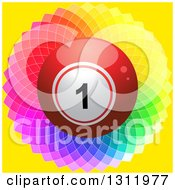 Clipart Of A 3d Shiny Red Bingo Or Lottery Ball On A Colorful Kaleidoscope Flower And Yellow Royalty Free Vector Illustration
