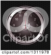 Clipart Of A 3d Music Speaker Clock Over Black Perforated Metal Royalty Free Vector Illustration by elaineitalia